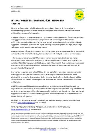 Internationellt system för miljöcertifiering blir svenskt
