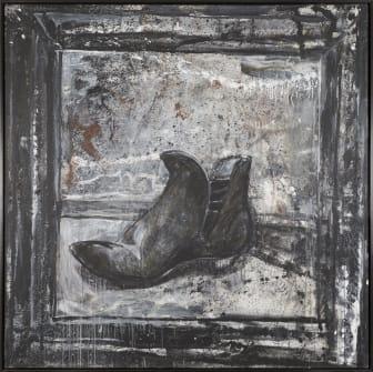Arvid Pettersen: The Evidential Boot of the Dead Pusher, 1985, Akryl på lerret, 200 x 200 cm Oslo Kommunes kunstsamling.