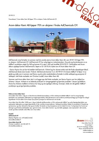 Arom-dekor Kemi AB kjøper 70% av aksjene i finske AdChemicals OY.