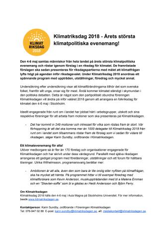 Klimatriksdagen 2018 - årets största klimatpolitiska evenemang!