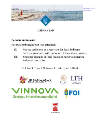 Urbana bad, sammanfattning på svenska och engelska: Marine sediments as a reservoir for fecal indicatorbacteria associated with pollution of recreational waters.