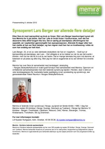 Synsoperert Lars Berger ser allerede flere detaljer