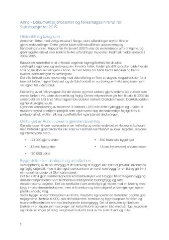 Notat Anno Dokumentasjonssenter før Statsbudsjettet