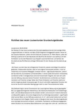 Richtfest neues Louisenlunder Grundschulgebäude