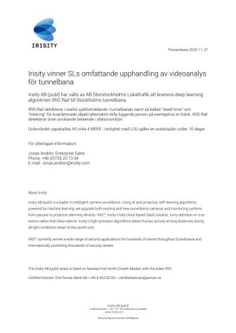 Irisity vinner SLs omfattande upphandling av videoanalys för tunnelbana