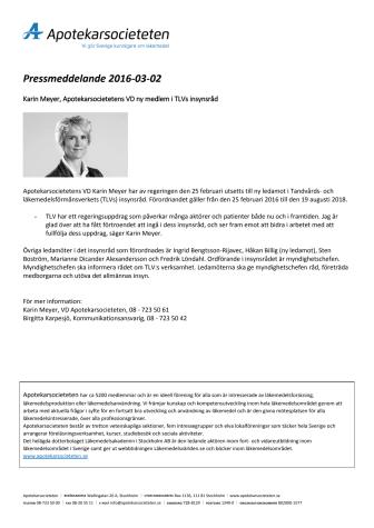 Apotekarsocietetens VD Karin Meyer ny ledamot  i TLVs insynsråd