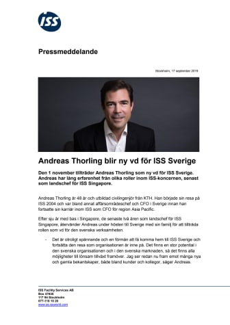 Andreas Thorling blir ny vd för ISS Sverige