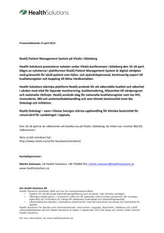 RealQ Patient Management System på Vitalis i Göteborg