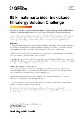 85 klimatsmarta idéer inskickade till Energy Solution Challenge