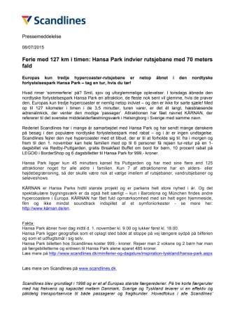 Ferie med 127 km i timen: Hansa Park indvier rutsjebane med 70 meters fald