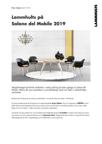 Lammhults på  Salone del Mobile 2019