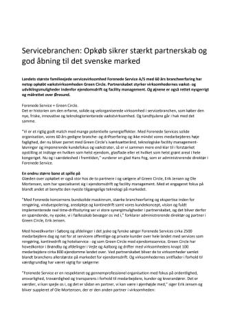 Servicebranchen: Opkøb sikrer stærkt partnerskab og god åbning til det svenske marked