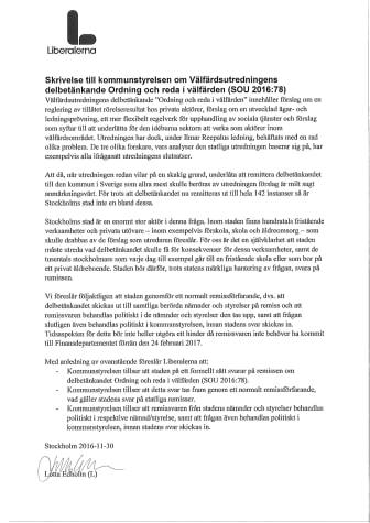 Liberalerna uppmanar Stockholms stad svara om Välfärdsutredningen (SOU 2016:78)
