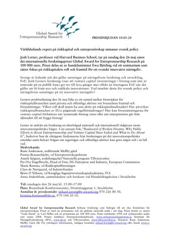 PRESSINBJUDAN Entreprenörskapsforskare utmanar svensk policy