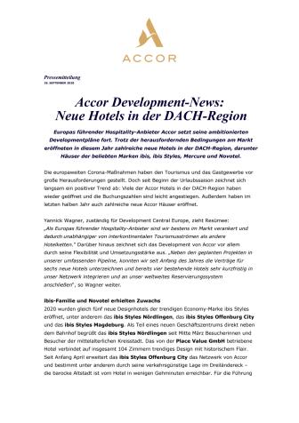 Accor Development-News: Neue Hotels in der DACH-Region