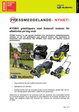 RYOBI® gräsklippare med Subaru® motorer för effektivitet på hög nivå!