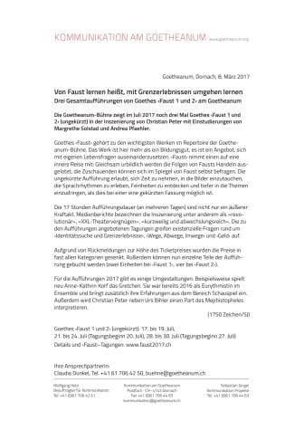 Von Faust lernen heißt, mit Grenzerlebnissen umgehen lernen. Drei Gesamtaufführungen von Goethes ‹Faust 1 und 2› am Goetheanum