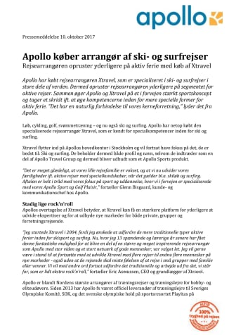 Apollo køber arrangør af ski- og surfrejser