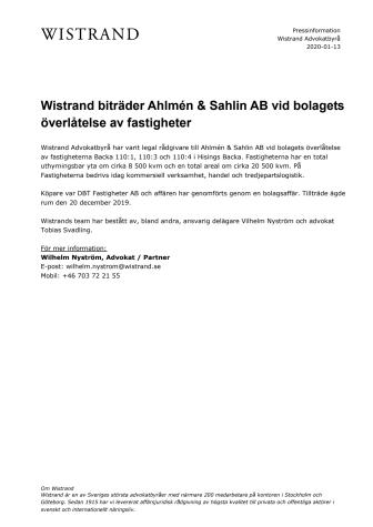 Wistrand biträder Ahlmén & Sahlin AB vid bolagets överlåtelse av fastigheter
