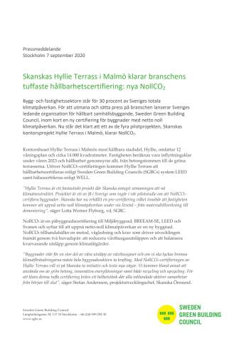 Skanskas Hyllie Terrass i Malmö klarar branschens tuffaste hållbarhetscertifiering: nya NollCO2