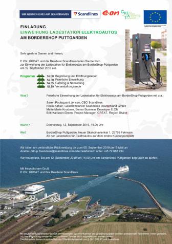 EINLADUNG: Einweihung Ladestation Elektroautos am BorderShop Puttgarden