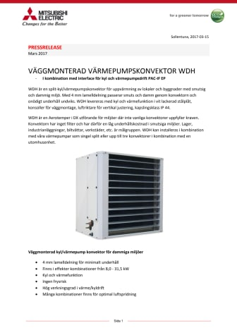 Väggmonterad Värmepumpskonvektor WDH