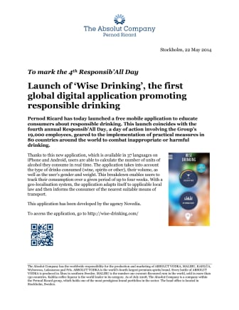 To mark the 4th Responsib'All Day: Launch of 'Wise Drinking', the first global digital application promoting responsible drinking