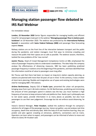 Managing station passenger flow debated in IRS Rail Webinar