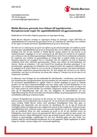 Rädda Barnens yttrande över kompletterande regler för uppehållstillstånd vid gymnasiestudier.pdf
