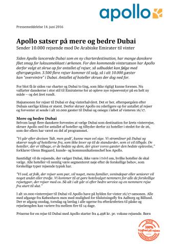 Apollo satser på mere og bedre Dubai