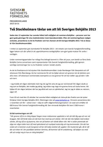 Två Stockholmare tävlar om att bli Sveriges Bohjälte 2013