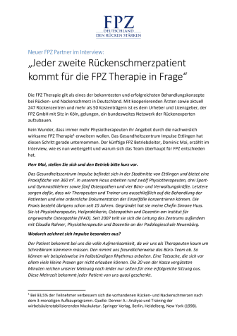 """Neuer FPZ Partner im Interview: """"Jeder zweite Rückenschmerzpatient kommt für die FPZ Therapie in Frage"""""""