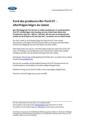 Ford ska producera fler Ford GT  - efterfrågan högre än väntat