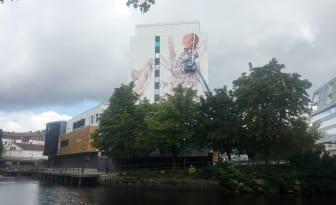 Fintan Magee in progress for No Limit Street Art Borås