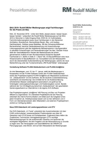 BAU 2019: Rudolf Müller Mediengruppe zeigt Fachlösungen  für die Praxis am Bau