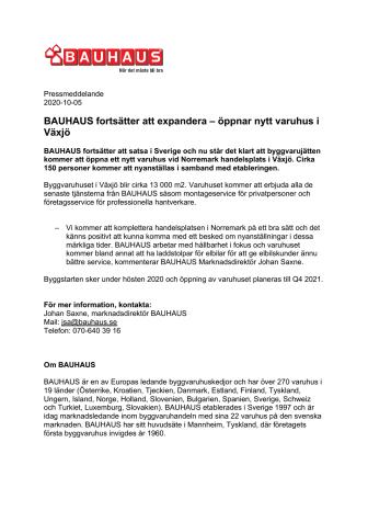 BAUHAUS fortsätter att expandera – öppnar nytt varuhus i Växjö