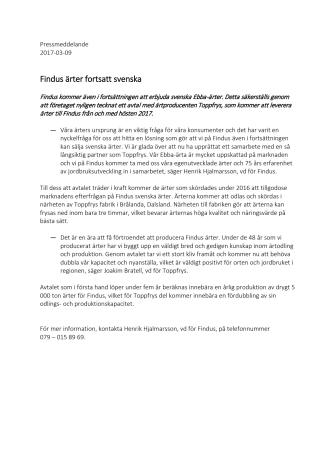 Findus ärter fortsatt svenska