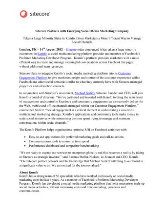Sitecore Partners with Emerging Social Media Marketing Company