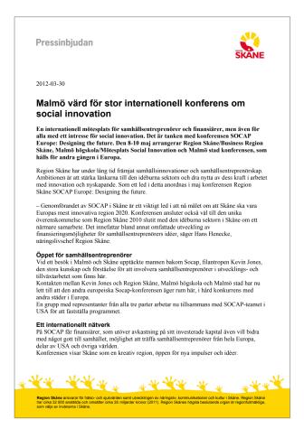 Malmö värd för stor internationell konferens om social innovation