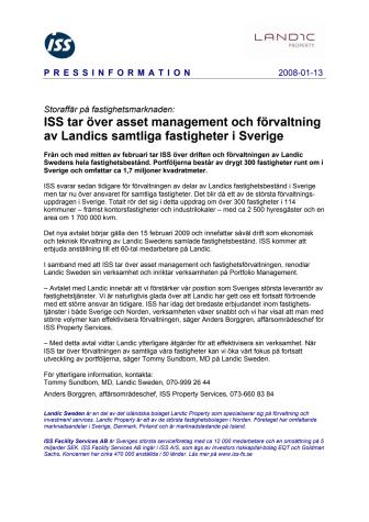 Storaffär på fastighetsmarknaden - ISS tar över asset management och förvaltning av Landics samtliga fastigheter i Sverige