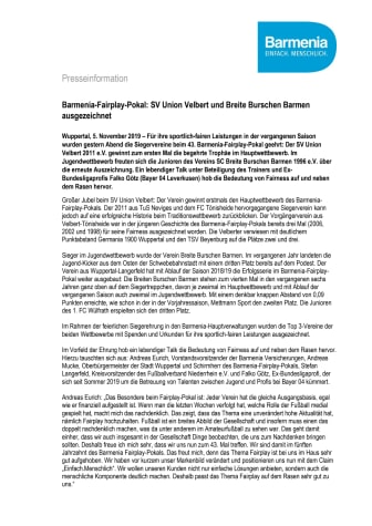 Barmenia-Fairplay-Pokal: SV Union Velbert und Breite Burschen Barmen ausgezeichnet