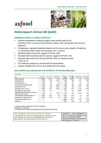 Delårsrapport Axfood AB 1 jan–30 jun 2014