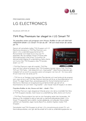 TV4 Play Premium tar steget in i LG Smart TV