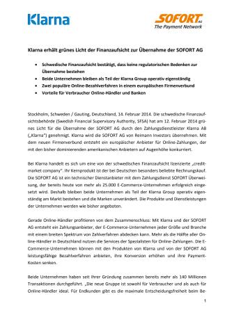 Klarna erhält grünes Licht der Finanzaufsicht zur Übernahme der SOFORT AG