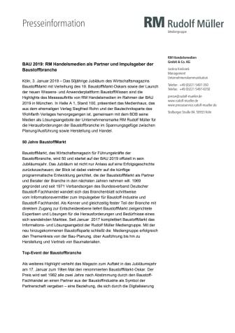BAU 2019: RM Handelsmedien als Partner und Impulsgeber der Baustoffbranche