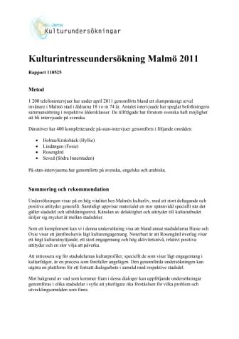 Kulturintresseundersökning gjord i Malmö för första gången