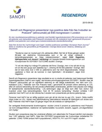 Sanofi och Regeneron presenterar nya positiva data från fas 3-studier av Praluent® (alirocumab) på ESC-kongressen i London