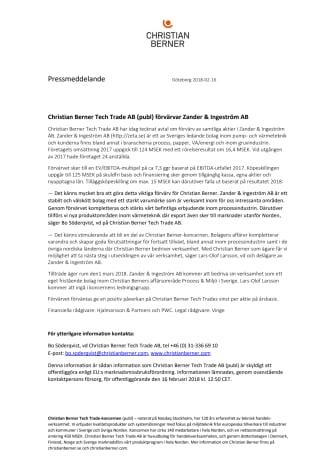 Christian Berner Tech Trade AB (publ) förvärvar Zander & Ingeström AB