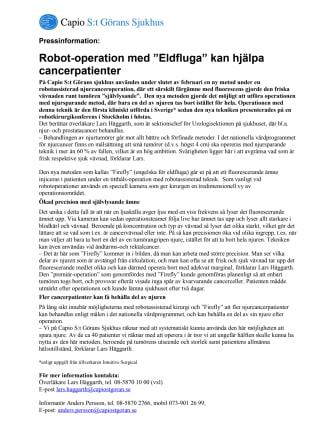 """Robot-operation med """"Eldfluga"""" kan hjälpa cancerpatienter"""