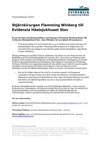 Stjärnkirurgen Flemming Winberg till Evidensia Hästsjukhuset Stav